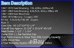Aluminium Radiateur Pour 1967-1970 Ford MUSTANG/Ranchero/Torino V8 1968 1969+