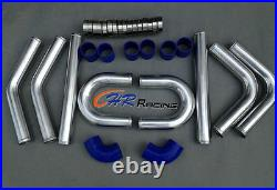 BRAND NEW 2.5 Aluminum Universal Intercooler Turbo Piping pipe + Blue hose kits